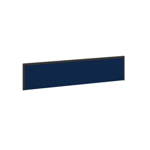 Straight fabric desktop screen 1600mm x 380mm - blue fabric with black aluminium frame