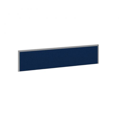 Straight fabric desktop screen 1600mm x 380mm - blue fabric with silver aluminium frame