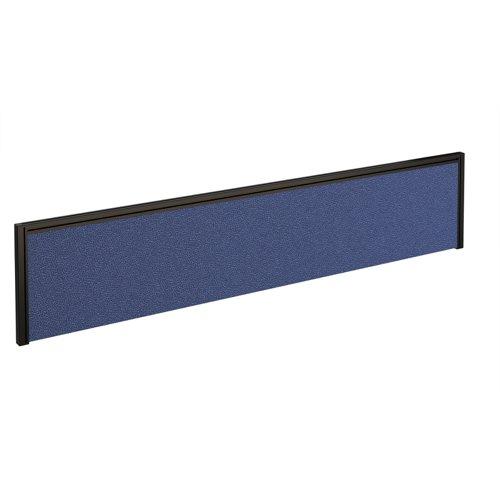 Straight fabric desktop screen 1800mm x 380mm - blue fabric with black aluminium frame