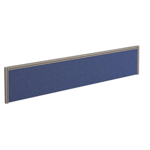 Straight fabric desktop screen 1800mm x 380mm - blue fabric with silver aluminium frame