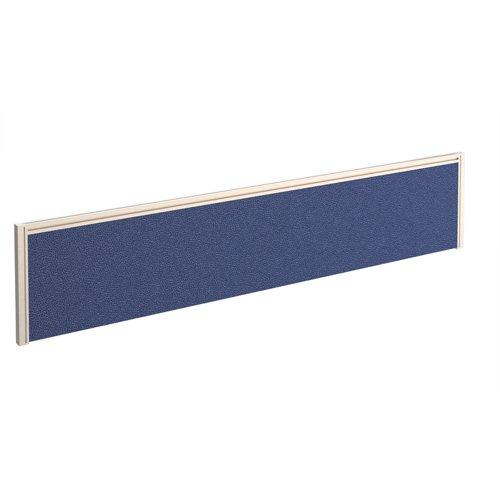 Straight fabric desktop screen 1800mm x 380mm - blue fabric with white aluminium frame
