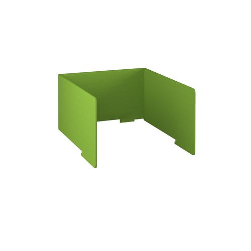 Free-standing high acoustic 3-sided desktop screen 1000mm wide - apple green