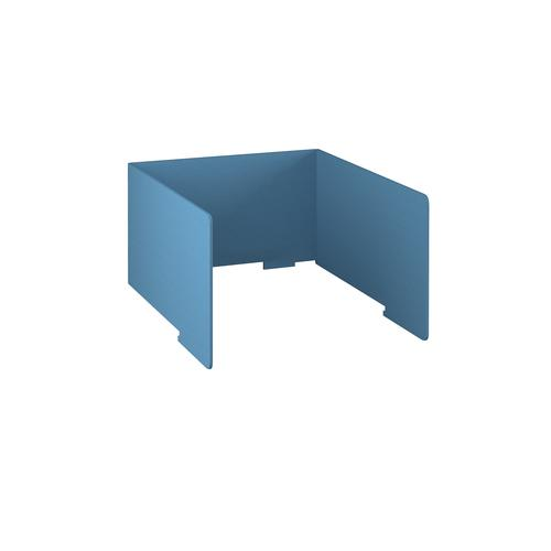 Free-standing high acoustic 3-sided desktop screen 1000mm wide - sky blue