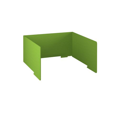 Free-standing high acoustic 3-sided desktop screen 1200mm wide - apple green