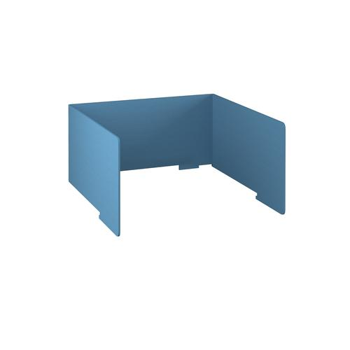 Free-standing high acoustic 3-sided desktop screen 1200mm wide - sky blue