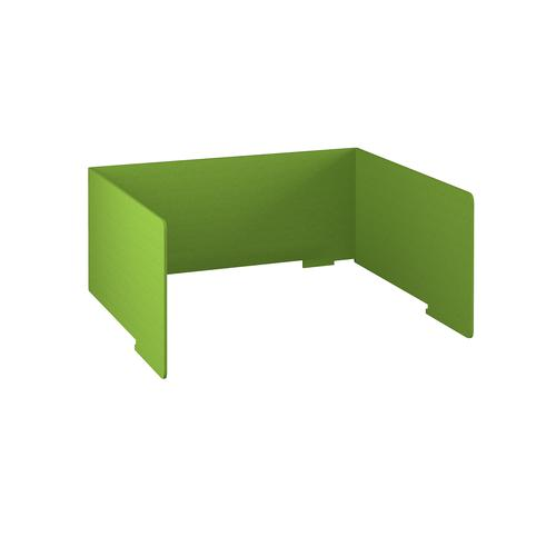 Free-standing high acoustic 3-sided desktop screen 1400mm wide - apple green