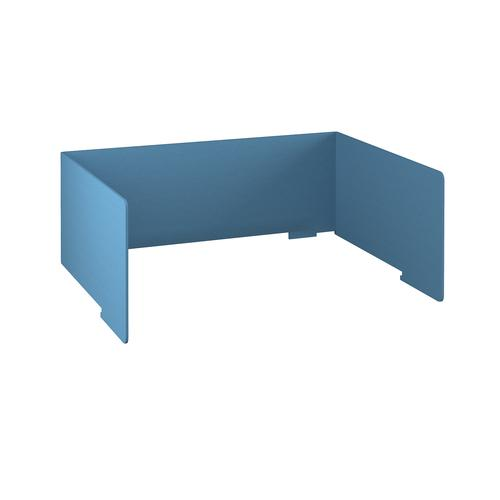 Free-standing high acoustic 3-sided desktop screen 1600mm wide - sky blue