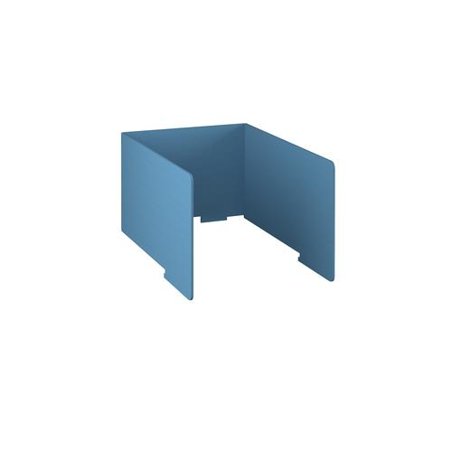 Free-standing high acoustic 3-sided desktop screen 800mm wide - sky blue