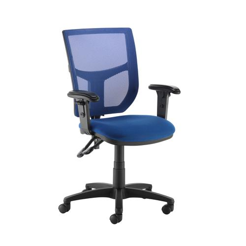 Altino coloured mesh back operators chair with adjustable arms - blue mesh and fabric seat