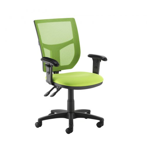 Altino coloured mesh back operators chair with adjustable arms - green mesh and fabric seat