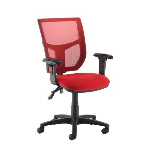 Altino coloured mesh back operators chair with adjustable arms - red mesh and fabric seat