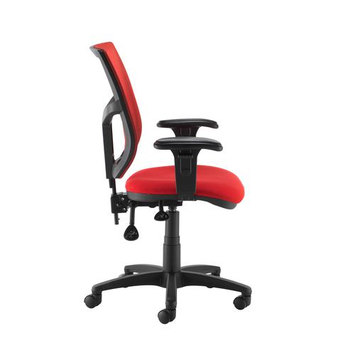 Altino coloured mesh back operators chair with adjustable arms - red mesh and fabric seat Office Chairs AFC12-000-RED/RED