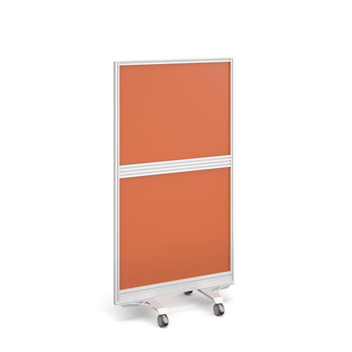 Aluminium floor screen with white frame and fully glazed 1500mm high x 800mm wide - made to order