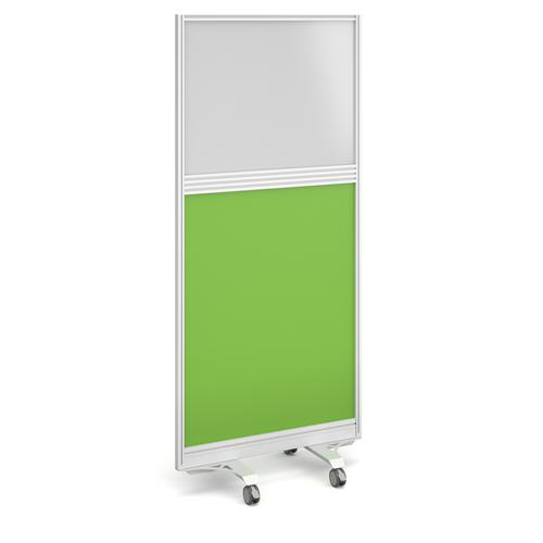 Aluminium floor screen with white frame and half glazed half white board 1800mm high x 800mm wide - made to order