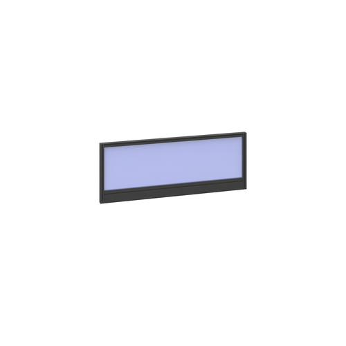 Straight glazed desktop screen 1000mm x 380mm - electric blue with black aluminium frame