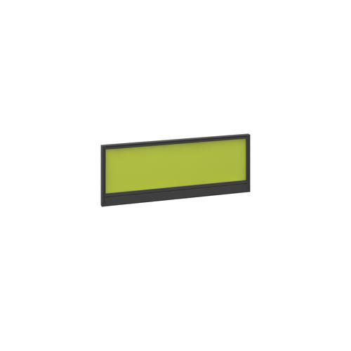 Straight glazed desktop screen 1000mm x 380mm - acid green with black aluminium frame