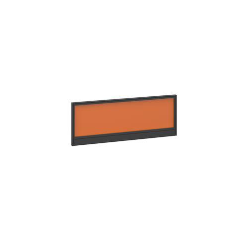 Straight glazed desktop screen 1000mm x 380mm - mandarin orange with black aluminium frame