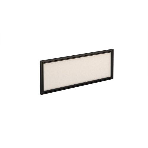 Straight glazed desktop screen 1000mm x 380mm - polar white with black aluminium frame