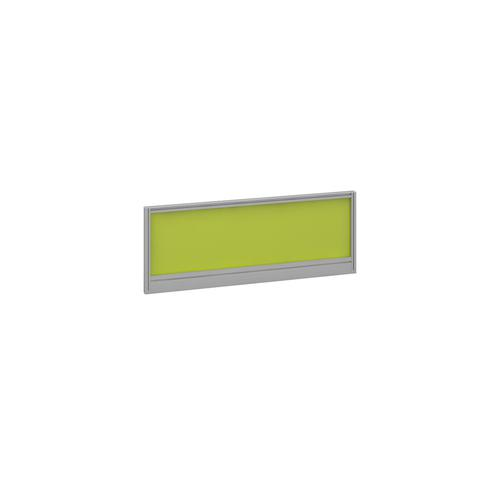 Straight glazed desktop screen 1000mm x 380mm - acid green with silver aluminium frame