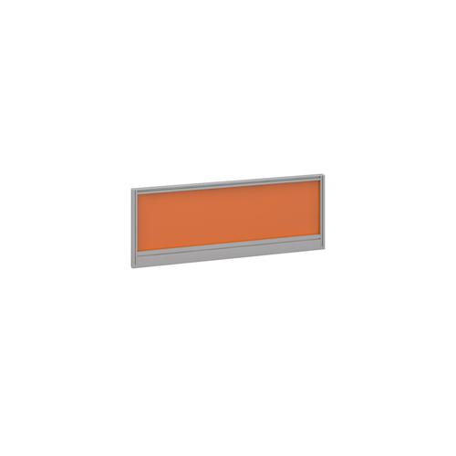 Straight glazed desktop screen 1000mm x 380mm - mandarin orange with silver aluminium frame