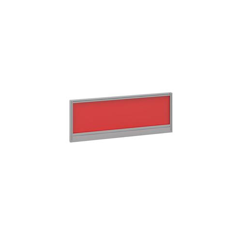 Straight glazed desktop screen 1000mm x 380mm - chili red with silver aluminium frame