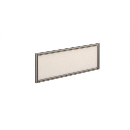 Straight glazed desktop screen 1000mm x 380mm - polar white with silver aluminium frame