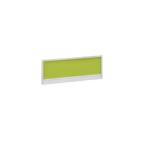 Straight glazed desktop screen 1000mm x 380mm - acid green with white aluminium frame