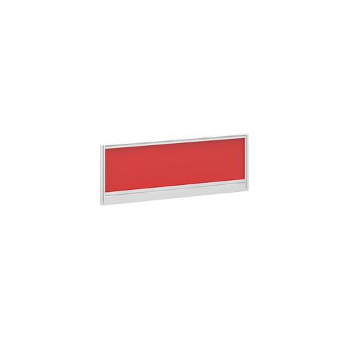 Straight glazed desktop screen 1000mm x 380mm - chili red with white aluminium frame