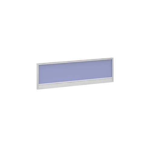 Straight glazed desktop screen 1200mm x 380mm - electric blue with white aluminium frame
