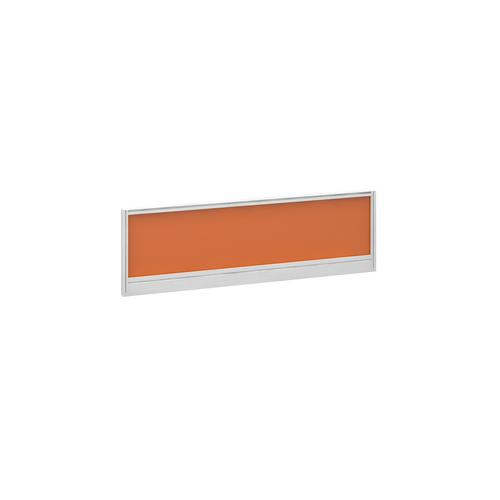 Straight glazed desktop screen 1200mm x 380mm - mandarin orange with white aluminium frame