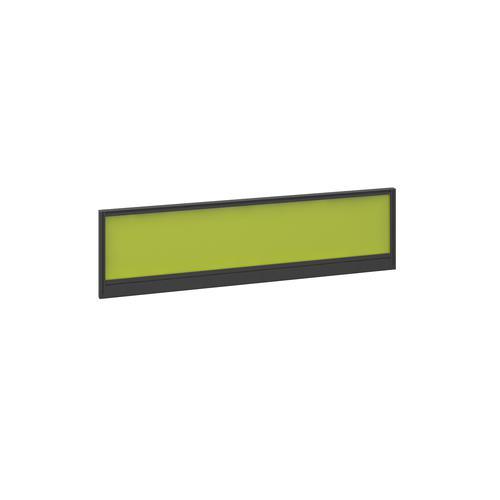 Straight glazed desktop screen 1400mm x 380mm - acid green with black aluminium frame