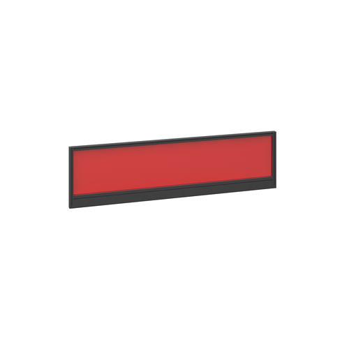 Straight glazed desktop screen 1400mm x 380mm - chili red with black aluminium frame