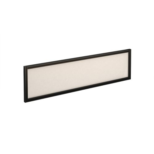Straight glazed desktop screen 1400mm x 380mm - polar white with black aluminium frame