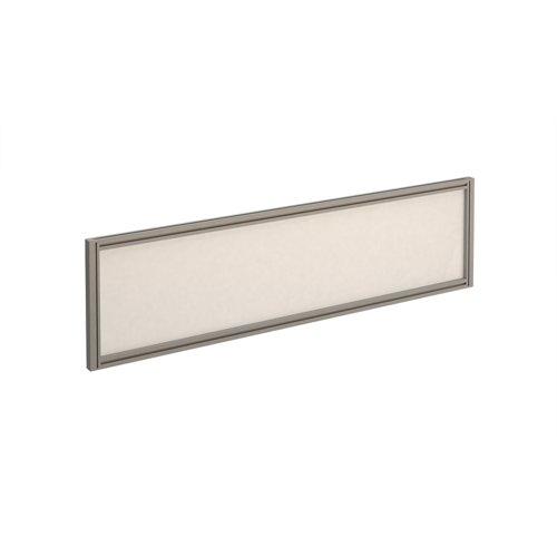 Straight glazed desktop screen 1400mm x 380mm - polar white with silver aluminium frame
