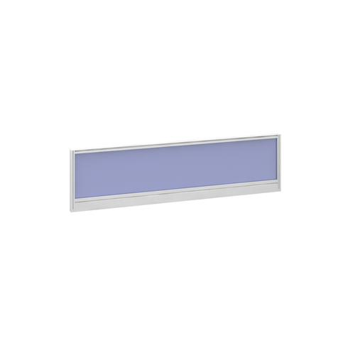 Straight glazed desktop screen 1400mm x 380mm - electric blue with white aluminium frame