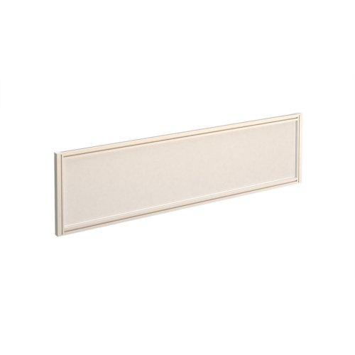 Straight glazed desktop screen 1400mm x 380mm - polar white with white aluminium frame