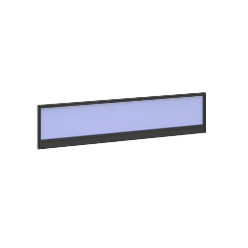 Straight glazed desktop screen 1600mm x 380mm - electric blue with black aluminium frame