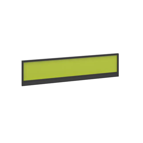 Straight glazed desktop screen 1600mm x 380mm - acid green with black aluminium frame