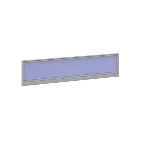 Straight glazed desktop screen 1600mm x 380mm - electric blue with silver aluminium frame