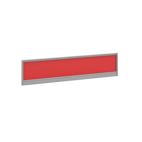 Straight glazed desktop screen 1600mm x 380mm - chili red with silver aluminium frame