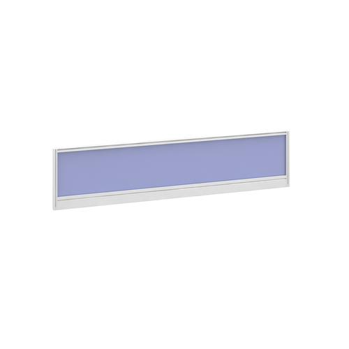 Straight glazed desktop screen 1600mm x 380mm - electric blue with white aluminium frame