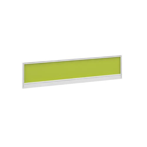 Straight glazed desktop screen 1600mm x 380mm - acid green with white aluminium frame