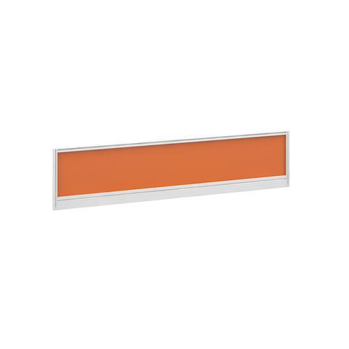 Straight glazed desktop screen 1600mm x 380mm - mandarin orange with white aluminium frame