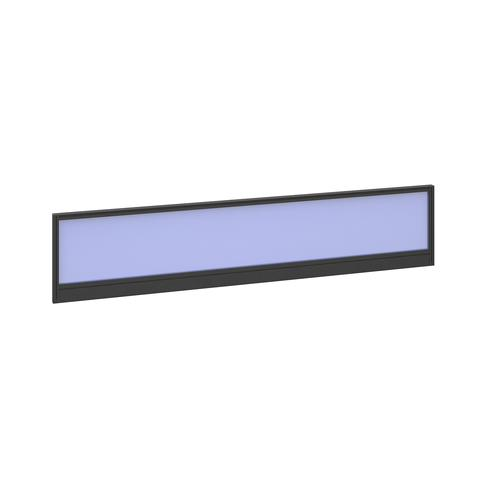 Straight glazed desktop screen 1800mm x 380mm - electric blue with black aluminium frame