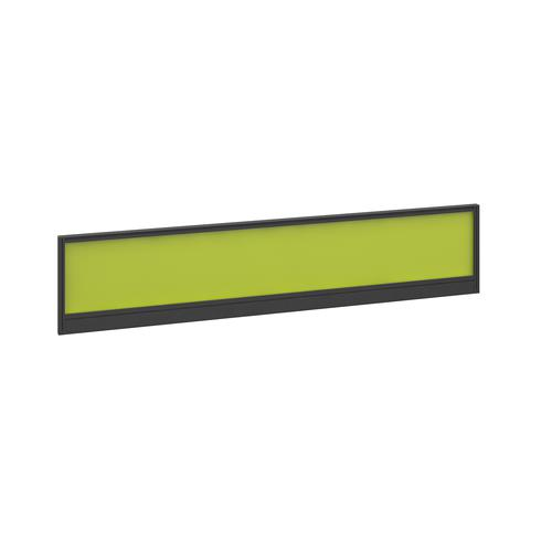 Straight glazed desktop screen 1800mm x 380mm - acid green with black aluminium frame