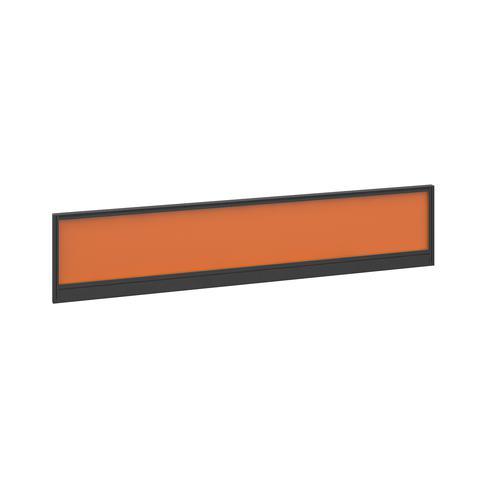 Straight glazed desktop screen 1800mm x 380mm - mandarin orange with black aluminium frame