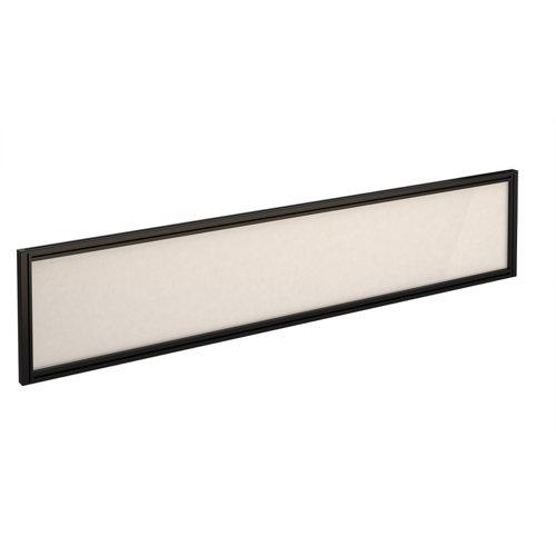 Straight glazed desktop screen 1800mm x 380mm - polar white with black aluminium frame