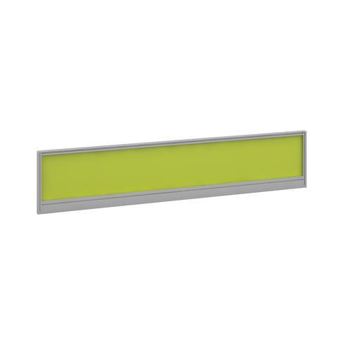Straight glazed desktop screen 1800mm x 380mm - acid green with silver aluminium frame