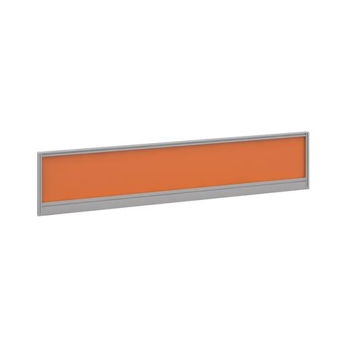 Straight glazed desktop screen 1800mm x 380mm - mandarin orange with silver aluminium frame