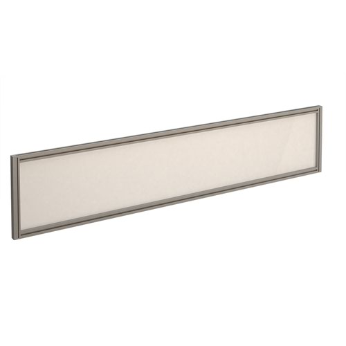 Straight glazed desktop screen 1800mm x 380mm - polar white with silver aluminium frame